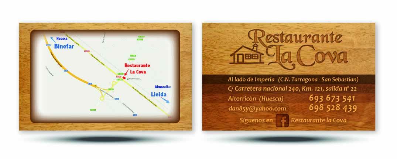 Tarjeta visita Restaurante La Cova