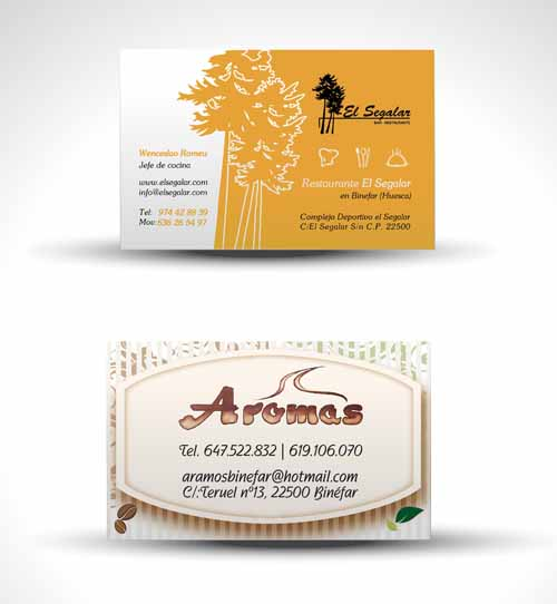 Tarjetas visita Restaurante El Segalar Binefar/Tarjeta vsista Aroma Binefar